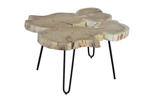 SAM Beistelltisch Logi, Couchtisch aus 4 Baumscheiben, Akazienholz massiv, naturfarben, Sofatisch mit Metall-Gestell schwarz, 65 x 65 x 45 cm
