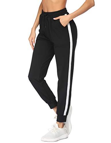 mea eor Damen Sweathose Sporthose High Waist mit Streifen Strick Baumwolle Trainingshose Für Laufen Yoga Sport Lässig Stoffhose mit Taschen und Kordelzug Schwarz XL