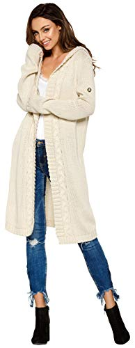 Lemoniade hochwertiger, modischer Cardigan mit Kapuze Knielang - Strickjacke Damen Jacke lang Mantel Strickmantel (LS213 900552 beige)