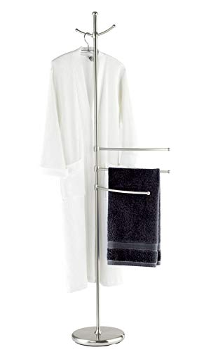 WENKO Handtuchständer Adiamo mit 3 Armen - Garderobenständer, höhenverstellbare Arme, 2 Aufhängehaken, Stahl, 28 x 170 x 28 cm, Matt