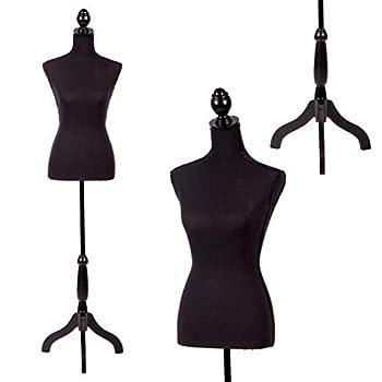 "FDW Manikin 60""-67""Height Adjustable Female Dress Model Display Torso Body Tripod Stand Clothing Forms Black"