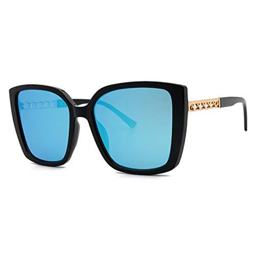 FENGHUAN Gafas de sol transparentes de gran tamaño Vintage para mujer, diseño retro, montura de remache de tortuga, gafas de sol, sombras, azul