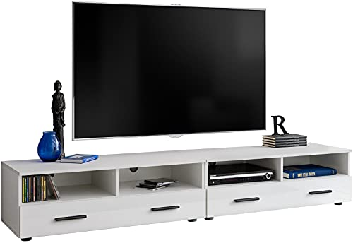 ExtremeFurniture T31 TV Cabinet Carcass 200cm in White Matt/Front in White High Gloss