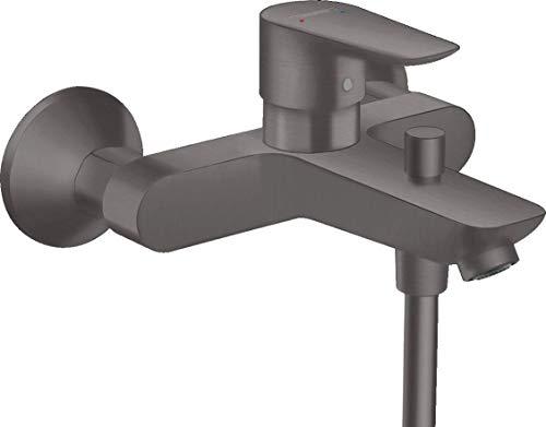 hansgrohe 71740340 Talis E - Grifo monomando para bañera (acabado cepillado), color negro y cromado
