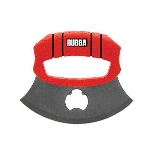 BUBBA ULU Knife with Non-Slip Grip Handle, Curved Blade, Integrated Bottle Opener and Sheath, Red