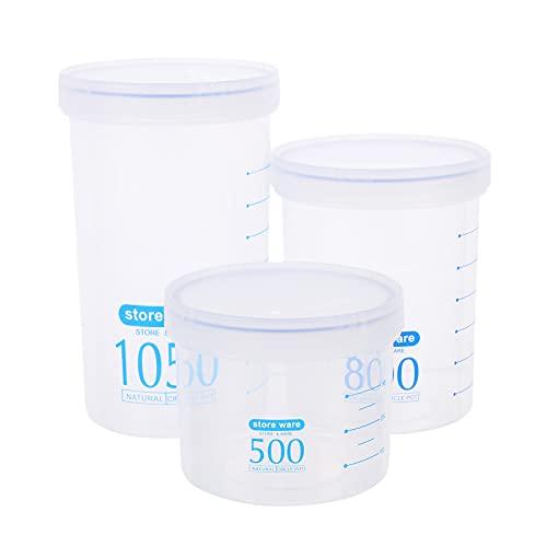 OSALADI 3 Unidades de Envases de Grano de Plástico Frascos de Almacenamiento de Plástico Vacíos Envases de Cocina Contenedores de Sellado de Alimentos con Balanza Transparente