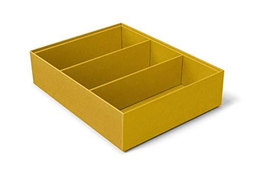 ilo - Organizador Cajones cm 35x27 H.5,5 - Almacenamiento de Escritorio - Caja con 3 Compartimentos - Tapicería en Tejido Técnico Amarillo - Reciclable y Fabricado en Italia