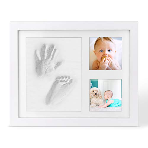 Impronta Bambino,Kit Impronta Neonato,Regalo perfetto per il battesimo del bambino,Cornice Impronte Neonato In Legno Da Tavolo E Da Parete Per Ricordi Indimenticabili.