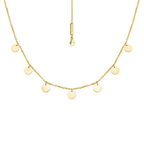 BAFFOS® Plättchen Halskette aus widerstandsfähigem Edelstahl in Farbe Gold für Damen - wundervoller runder Choker Schmuck + Gratis Geschenkverpackung