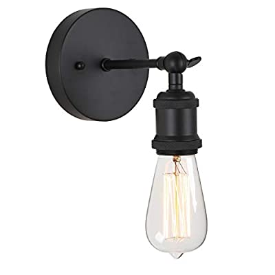 Popity home Vintage Edison 1-Light Adjustable Swing Arm Matte Black Wall Sconce, Industrial Wall Lamp with Mount Lighting Fixtures for Bathroom,Bedroom,Entry and Living Room