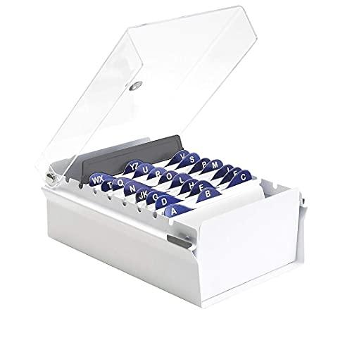 """Acrimet Fichero Tarjetero 3"""" X 5"""" Organizador de Tarjetas con Divisor y Indice A-Z incluidos (Índice A-Z 130mm X 90mm) (Base de Metal Resistente Color Blanco y Tapa de Plástico Transparente)"""