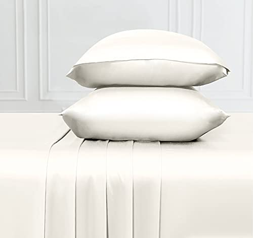 Soft & Silky Cooling Sheets Fabric from 100% Bamboo, Wrinkle Resistant Bamboo Cal King Sheets with Deep Pocket Fitted Sheet, Rayon (Ivory)