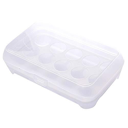 2 Packs Ei Houder Plastic Ei Container 15 Koelkast Opslag Managers met Deksel Bescherming en Houd Vers Stapelbaar voor Keuken Eten (Transparant) Kleur: wit