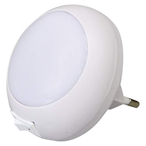 EMOS P3302 LED Nachtlicht Steckdose mit Schalter/Orientierungslicht/Nachtlampe für Treppenaufgang, Kinderzimmer, Schlafzimmer, Weiß