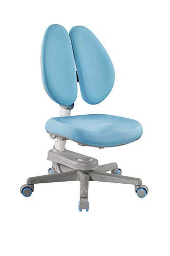 Ergonomic Kids Desk Chair for Writing Desk or Study Table - Adjustable Height Mesh Fabric Seat and Back Split-Type Backrest Locking Casters and Easy-Grip Handle Blue