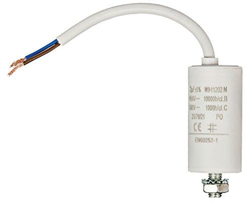 Eurosell 2.0 µF / 450 V +Premium Kondensator Betriebskondensator Motorkondensator Anlaufkondensator Arbeitskondensator Steckeranschluss mit fest verbautem Kabel Anschluss