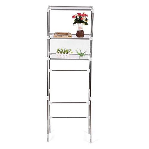 AYNEFY Estantería de baño, armario, armario de baño, estante de almacenamiento sobre inodoro, lavadora/lavadora, organizador de 3 niveles (160 x 68)