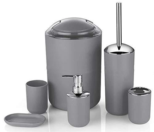 Icegrey Design Moderno 6 Pezzi Set di Accessori per Il Bagno Bottiglie per Lozione, Portaspazzolino, Boccale per Denti, Portasapone, Scopino per WC, Pattumiera,Grigio