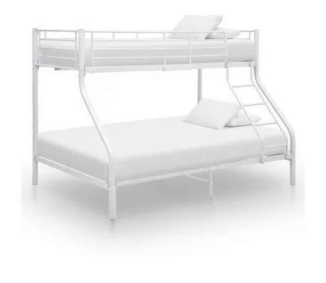 Litera Cikonielf, base sólida para somier, estructura de cama blanca mental, escalera de escalada, 90 x 220 cm + 140 x 220 cm (sin colchón)
