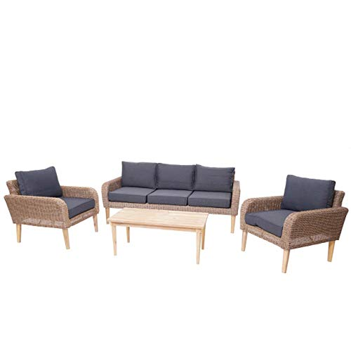 Mendler Garnitur HWC-H57, Garten-/Lounge-Set Sofa Sitzgruppe, rundes Poly-Rattan Alu + Akazie Spun Poly - Kissen dunkelgrau