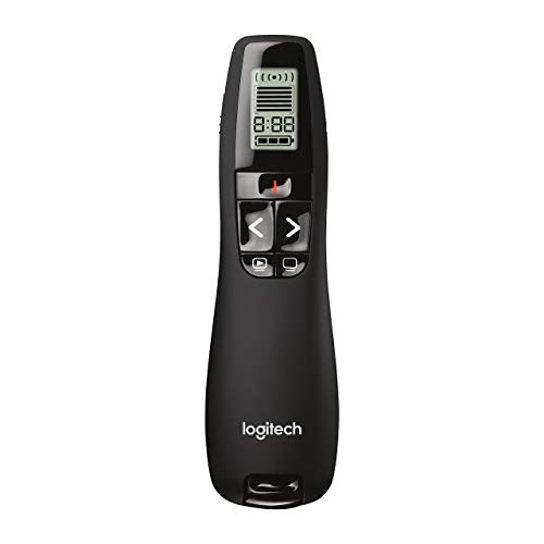 powerful Logitech Professional Presenter R800 Wireless Presentation Remote Control with Green Laser Pointer and LCD