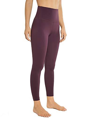 AGONVIN Sport Leggins Yogahosen für damen Sporthose Lang Tights High Waist Hellviolett M(8/10)