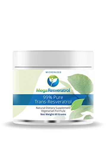 Mega Resveratrol Pharmaceutical Grade - 99% Pure Micronized Trans-Resveratrol Powder- Purity Certified 60 gm