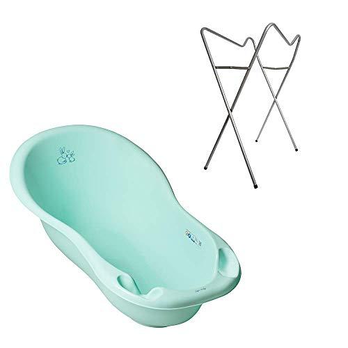 Tega Baby ® ergonomische Badewanne 86cm SET 3-teilig mit faltbarem Gestell + Stöpsel zum Wasserablassen Abfluss Babybadewanne 0-12 Monate, Motiv: Häschen - grün, Ständer: Silber