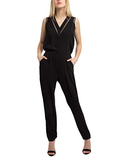 APART Damen Jumpsuit mit feinem Spitzeneinsatz, schwarz, 38