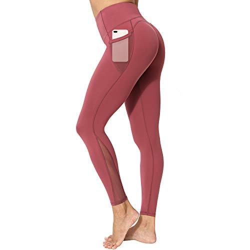 neppein Sport Leggings mit Taschen,Damen High Waist Blickdicht Leggings Sporthose Yogahose Fitnesshose