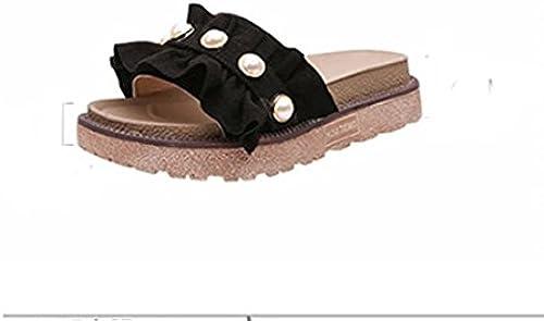 AJUNR Femmes Loisirs été Mode des Chaussons La Volant Pearl en Daim Faites Glisser Mot 4cm d'épaisseur de Semelle de Sandales Bas Muffin Noir