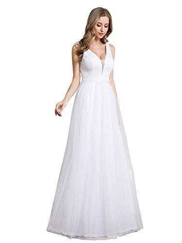 Vestido De Novia Ligero Blanco Brillante Temperamento Romántico Vestido De Noche