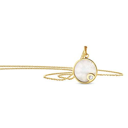 Orovi Joyería Mujer Collar de Oro Amarillo con colgante de nácar y circonita cúbica cadena de piedra de oro de 14 quilates (585)