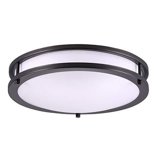 OSTWIN 14 Inch LED Flush Mount Ceiling Light, Dimmable Round Light Fixture, Oil Rubbed Bronze Finish, Plastic Shade, 21 Watts (120W Eq.), 1470 Lm, 3000K (Warm Light), ETL and Energy Star Listed