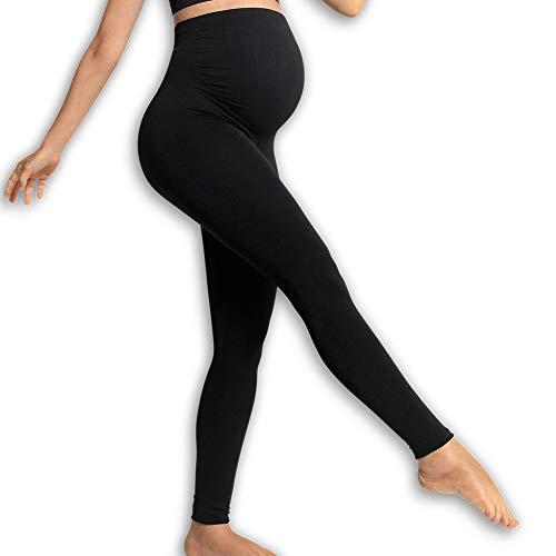 Carriwell unterstützende Schwangerschafts-Leggings, Bequeme Umstandshose mit Unterbaucheinsatz, lindert Rückenschmerzen in der Schwangerschaft, atmungsaktiv, in Schwarz, Größe: S