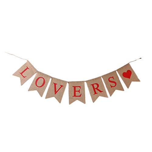 Yinew Lovers Dreieck-Fahnen-Herz-Buchstabe-Muster-Flagge kennzeichnet romantische Valentinstag-Hochzeits-Dekoration