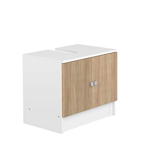 Marca Amazon -AmazonBasics - Mueble para lavabo, 60 x 40 x 52.2cm (largo x ancho x alto), roble y blanco