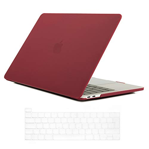 Se7enline 2020 Mac Book Pro 13 inch Case Plastic Hard Shell Laptop Cover for MacBook Pro 13.3-inch Model A2338/A2251/A2289 with Touch Bar Touch ID with Silicone Keyboard Skin, Wine Red