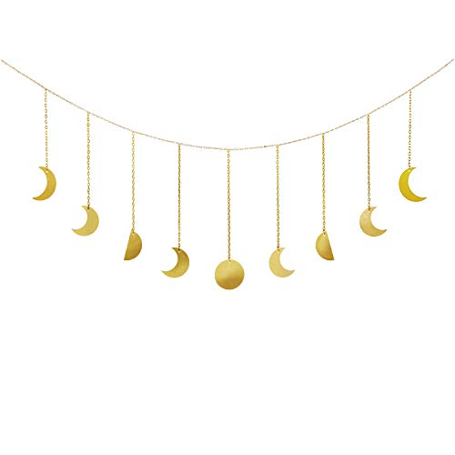 Dahey Moon Decor Wall Hanging Decorations Moon Phases Wall Art Boho Home Decor for Bedroom, Living Room, Apartment or Dorm,Gold