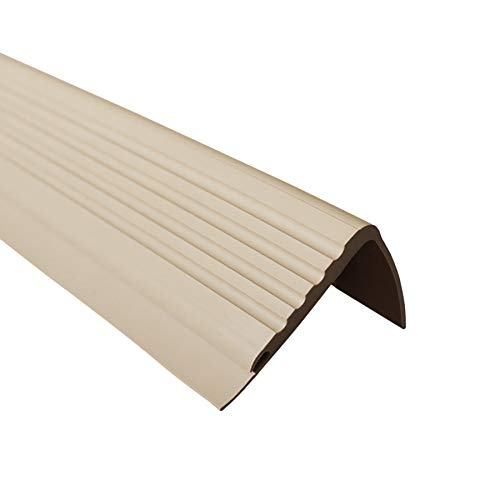 Anti-Rutsch Treppenkantenprofil für Treppenstufen Winkelprofil PVC Gummi PMW, 1.5 Meter, 48x42mm (beige)