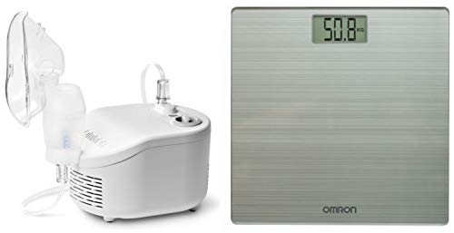 Omron NEC 101 Compressor Nebulizer For Child & Adult (White) & Omron HN 286 Ultra Thin Automatic Personal Digital Weight Scale With Large LCD Display and 4 Sensor Technology