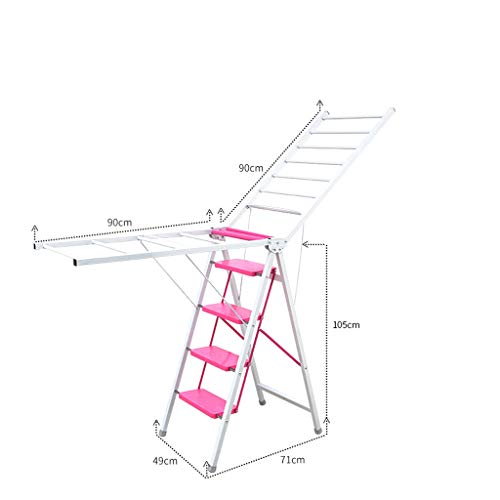 Escalera plegable para secado, escalera de espiga, práctica escalera para interiores y exteriores, rosa