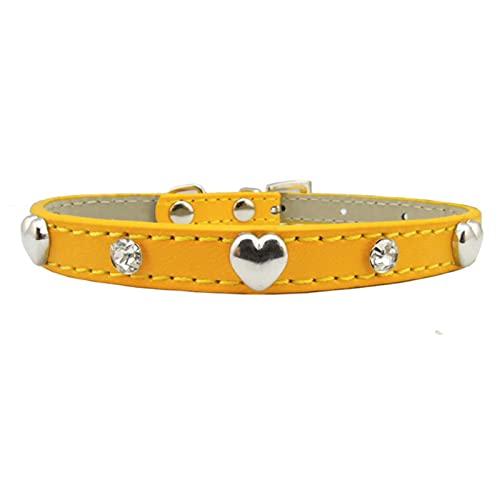 Collar para Perro y Gato, decoración de Diamantes de imitación para Gatito, Cachorro, Gato, Collar, Amarillo, XS