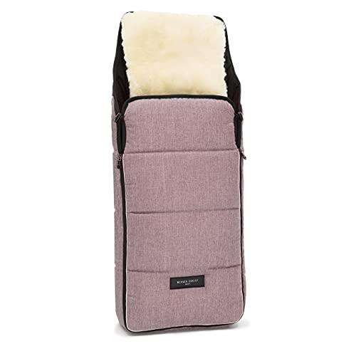 Lammfell Kinderwagen-Fußsack CORTINA von WERNER CHRIST BABY – Thermo Winterfußsack mit herausnehmbarem, echtem Fell, als Einlage für Buggy verwendbar (2-in-1) in rosé