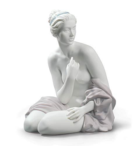 LLADRÓ Figurina Donna Bagnante Seduta. Figurina Nudo Femminile di Porcellana.