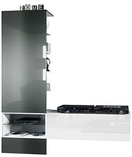 Vladon Wohnzimmer Wohnwand Anbauwand Manhattan, Korpus in Weiß matt/Fronten in Weiß Hochglanz, Paneel in Grau Hochglanz