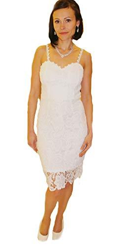 Zauberkutsche Brautkleid Spitze kurz Hochzeitskleid Spitze X S M L XL XL Braut Kleid Standesamt Ivory Creme (L, Ivory)