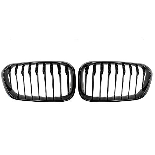 ZHJNB Tela de riñón para Parachoques, 1 par del Frente de Coche para BMW F20 F21 LCI 5D 1-Series 3D 120i 2015-2017 Racing Grille Negro Brillante 1 Llantas,5gloss Black 1 Slat