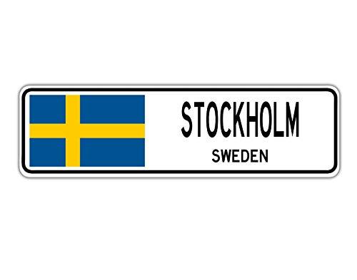 TNND New Stockholm Schweden Straßenschild, schwedische Flagge, Stadt Land Straße, Straßenschild, 10,2 x 40,6 cm
