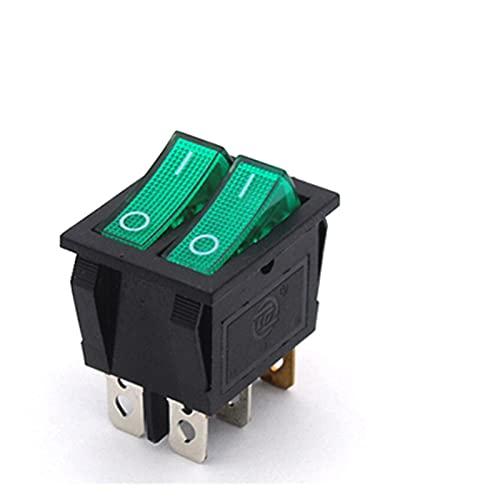 YSJJNDH Basculante Interruptor KCD8 6pin Switch Switch Interruptor de Encendido Duplex On-Off 2position 6 Pines con Light 16A 250VAC / 20A 125VAC (Color : Green)